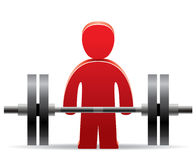 Bodybuilder y peso stock de ilustración