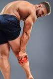 Bodybuilder łydki ból Fotografia Stock