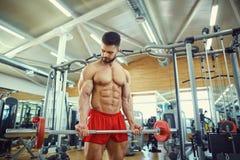 Bodybuilder z brodą z prętowym barbell w gym zdjęcia royalty free