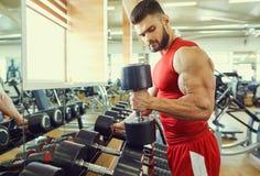 Bodybuilderatleet met domoren in de gymnastiek royalty-vrije stock afbeelding