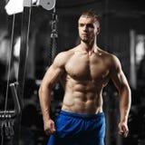 Bodybuildermens in de gymnastiek Royalty-vrije Stock Foto's