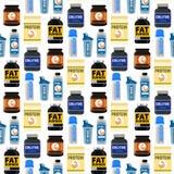 Bodybuilders γυμναστικής αθλητών αθλητικών τροφίμων διατροφής άνευ ραφής σχεδίων υποβάθρου ικανότητας διάνυσμα ποτών σκονών διατρ διανυσματική απεικόνιση