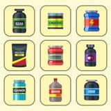 Bodybuilders γυμναστικής αθλητών αθλητικών τροφίμων διατροφής συμβόλων ικανότητας διανυσματική απεικόνιση ποτών σκονών διατροφής  ελεύθερη απεικόνιση δικαιώματος