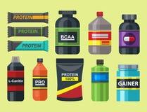 Bodybuilders γυμναστικής αθλητών αθλητικών τροφίμων διατροφής συμβόλων ικανότητας διανυσματική απεικόνιση ποτών σκονών διατροφής  απεικόνιση αποθεμάτων