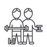 Bodybuilders, fintess γυμναστική, ισχυρή πρακτική, βάρη, workout διανυσματικό εικονίδιο γραμμών, σημάδι, απεικόνιση στο υπόβαθρο, ελεύθερη απεικόνιση δικαιώματος