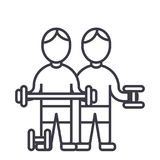 Bodybuilders,fintess gym,strong practice,weights,workout vector line icon, sign, illustration on background, editable Royalty Free Stock Photography