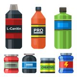 Bodybuilders gym athlete sport food diet symbols fitness nutrition protein powder drink vector illustration. Jars and bottles with supplements for muscle Royalty Free Stock Photos