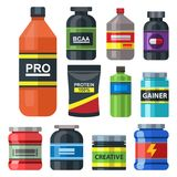 Bodybuilders gym athlete sport food diet symbols fitness nutrition protein powder drink vector illustration. Jars and bottles with supplements for muscle Stock Images