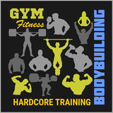 Bodybuilders silhouettes. Vector set Royalty Free Stock Images