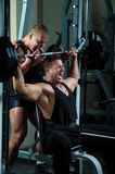 Bodybuilders training in gym Stock Photo