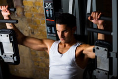 Bodybuildertraining auf PEC flye Lizenzfreies Stockfoto