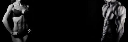 Bodybuilding. Άνδρας και γυναίκα Στοκ φωτογραφία με δικαίωμα ελεύθερης χρήσης