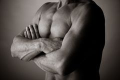 Bodybuilding. Photo of a man of 50 years old making bodybuilding royalty free stock photos