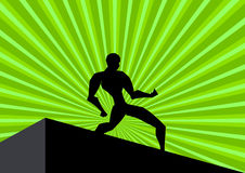 Bodybuilding. An illustrated green background with a silhouette of a posed body builder on an abstract design of green rays Royalty Free Stock Images
