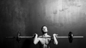 Bodybuilding Athletic Man Weightlifting Barbell Royalty Free Stock Images