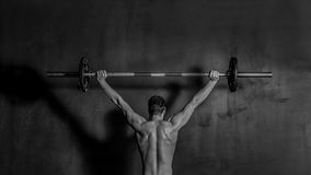 Bodybuilding Athletic Man Weightlifting Barbell Royalty Free Stock Photography