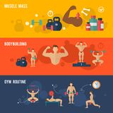 Bodybuilding Banner Set. Bodybuilding horizontal banner set with muscle mass gym routine elements isolated vector illustration royalty free illustration