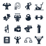 Bodybuilding Black Icon Set. With description of sports people trainers equipment and sports nutrition vector illustration Royalty Free Stock Images