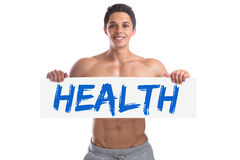 Bodybuilding bodybuilder health healthy body builder building mu. Scles strong muscular young man isolated on a white background Royalty Free Stock Image