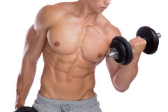 Bodybuilding bodybuilder muscles biceps body builder building po Royalty Free Stock Images