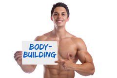 Bodybuilding bodybuilder muscles body builder building sign stro. Ng muscular young man isolated on a white background Royalty Free Stock Image