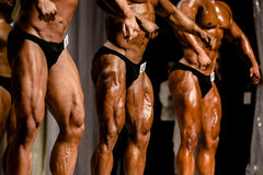 Bodybuilding competitions three athletes Stock Images