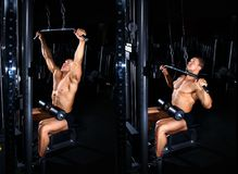 Man doing exercise for back tutorial. Bodybuilding concept. Exercises tutorial. Muscular man doing exercise for back with lat pulldown cable machine in gym Stock Image