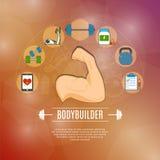 Bodybuilding Concept Icons Set Stock Image