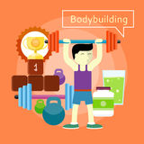 Bodybuilding Concept. Man beginner bodybuilder. Bodybuilding concept. Can be used for web banners, marketing and promotional materials, presentation templates Royalty Free Stock Photos