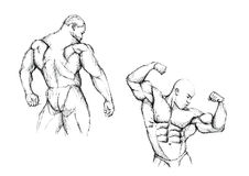 Bodybuilding duo. Sketching of the two bodybuilders Royalty Free Stock Photo