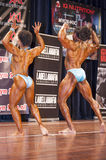 Bodybuilding duo in back double biceps pose on stage Stock Photography
