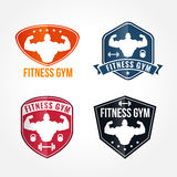 Bodybuilding and Elegant fitness gym  Vector logos graphics Royalty Free Stock Photography