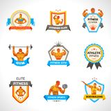Bodybuilding Emblems Set Royalty Free Stock Images