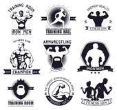 Bodybuilding en geschiktheidsgymnastiekemblemen en emblemen Stock Afbeelding