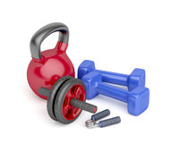 Bodybuilding equipment. Abdominal toning wheel, hand gripper, pair of dumbbells and kettlebell on white background Stock Photography