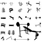 Bodybuilding equipment silhouettes Royalty Free Stock Image