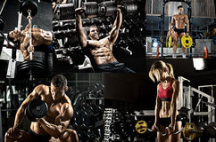 Bodybuilding. Execute exercise press with weight, in gym, collage of photo Stock Photography