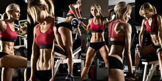 Bodybuilding. Execute exercise press with weight, in gym, collage of photo stock images