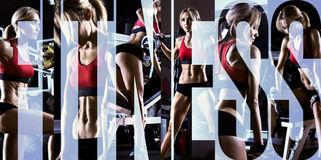 Bodybuilding. Execute exercise press with weight, in gym, collage of photo Royalty Free Stock Image