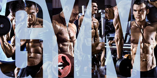 Bodybuilding. Execute exercise press with weight, in gym, collage of photo Stock Photo