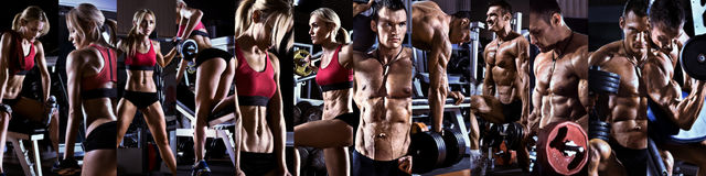 Bodybuilding. Execute exercise with weight, in gym, horizontal panorama, collage of photo stock photo