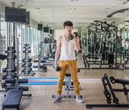 Bodybuilding In Fitness Center Royalty Free Stock Photos