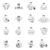 Bodybuilding fitness gym icons black Royalty Free Stock Photos