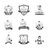 Bodybuilding fitness gym label black Royalty Free Stock Images