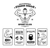 Bodybuilding and Fitness Gym Labels and Emblems Royalty Free Stock Images