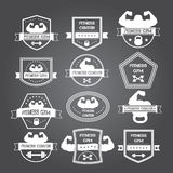Bodybuilding and fitness gym logos and emblems in the style of t Stock Photos