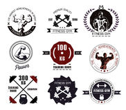 Bodybuilding and fitness gym logos and emblems. In the style of the vintage. Set elements for design. Bodybuilder, gym, man, athlete icon vector illustration