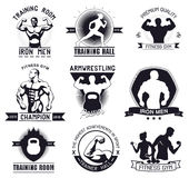 Bodybuilding and fitness gym logos and emblems. In the style of the vintage. Set elements for design. Bodybuilder, man, woman, athlete icon stock illustration