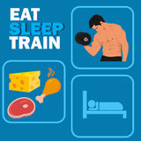 Bodybuilding and fitness rules concept, vector illustration Royalty Free Stock Images