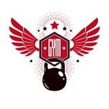 Bodybuilding and fitness sport logo templates, retro style vecto Stock Photos
